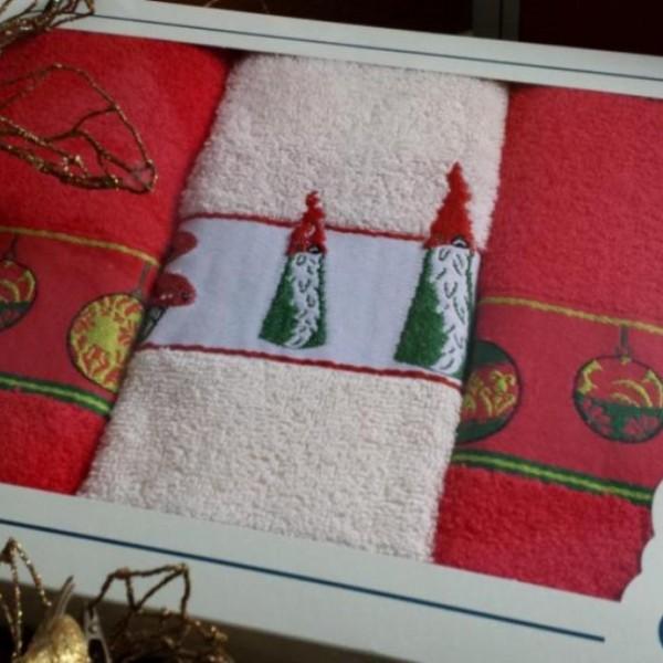 Paño de cocina en rizo con cenefa jacquard de Navidad, en caja